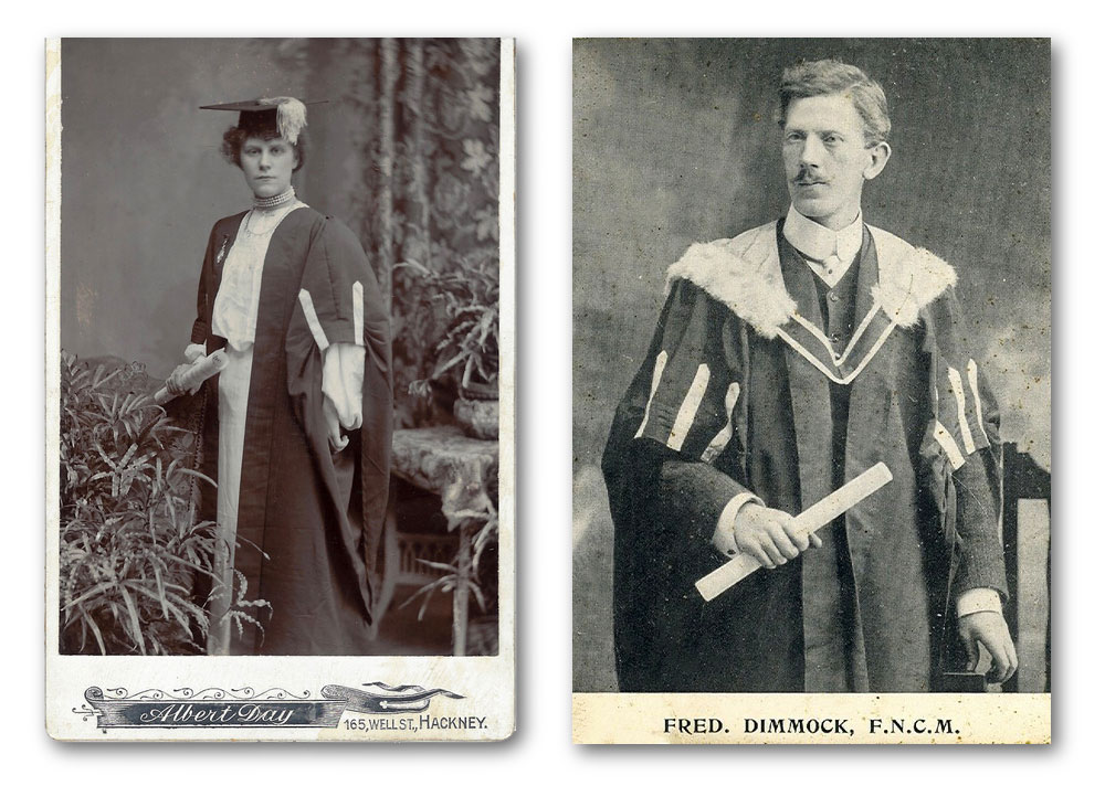 Two early 20th Century Diploma holders from The National College of Arts and Music